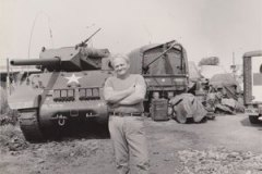 Peter Gray with his M10 Tank destroyer